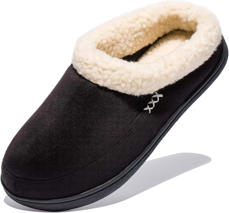 NewDenBer NDB Women's Cozy Memory Foam Fuzzy Wool-Like Plush Fleece Lined Slip on Indoor Outdoor House Slippers