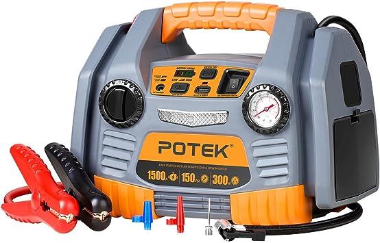 POTEK Portable Power Source:1500 Peak/ 750 Instant Amps Jump Starter, 300W Inverter,150 PSI Air Compressor: image