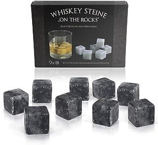 Amazy Whisky Steine 9 Stück inkl. Samtbeutel – Wiederverwendbare Eiswürfel aus natürlichem, geschmacksneutralem Speckstein in edler Geschenkbox