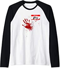 Mens Hello My Name Is Gary - Blood Hand - Scary Halloween Raglan Baseball Tee