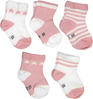 SYEEGCS Calcetines Algodón Bebé Niños Niñas Cortos Transpirables Suaves Elásticos Rayas Estrellas 5 pares