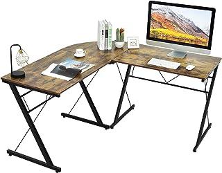 Costway Bureau d'Ordinateur en Forme L Grande Table de Bureau Détachable à Angle Réversible 150x150x76CM Industriel Noir/M...