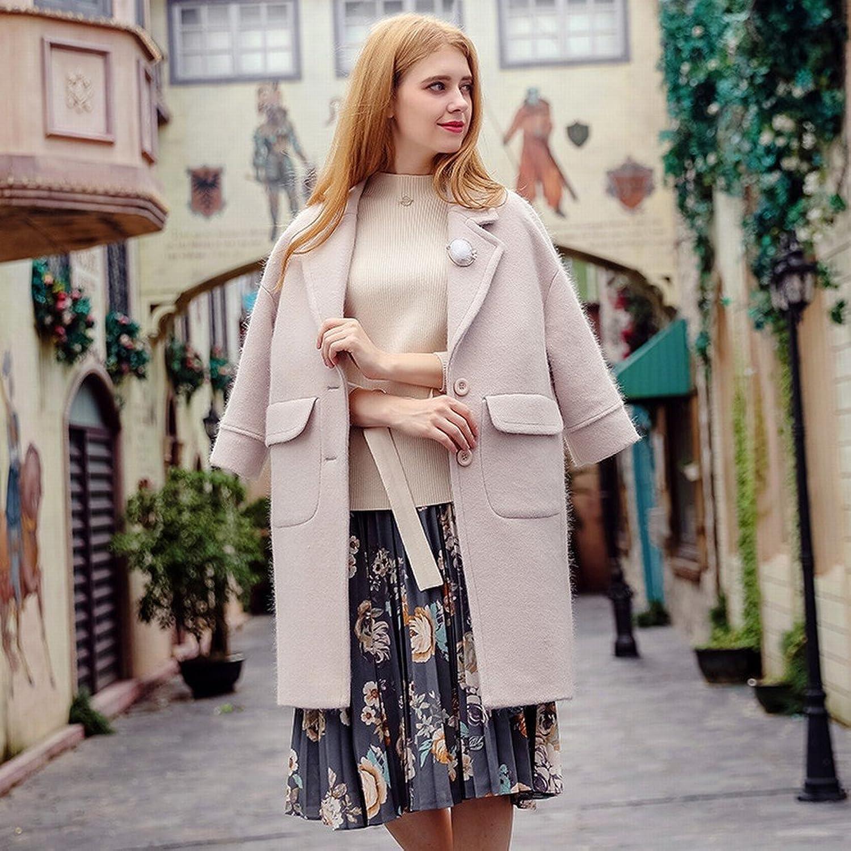 DEED Women's CoatAutumn and Winter Women 'S Solid color Lapel Thick Coat Coat Temperament Coat