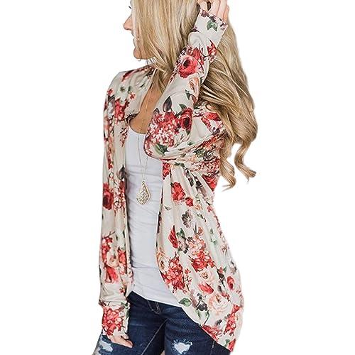 4a3061deb9be ECOWISH Womens Boho Irregular Long Sleeve Wrap Kimono Cardigans Casual  Coverup Coat Tops Outwear S-