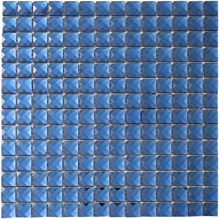 Diflart Mirror Glass Mosaic Tile Crystal Diamond Mosaic Tile 3/4 inch for Kitchen Backsplash Bathroom Pool KTV Bar Wall Pack of 5 (Blue)