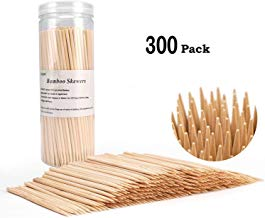Bamboo Skewers BBQ Natural Bamboo Sticks for Appetizers, Cocktails, Corn Dog, Corn Cob, Chocolate Fountain, Kabob, Grill (6 inch -300pcs)