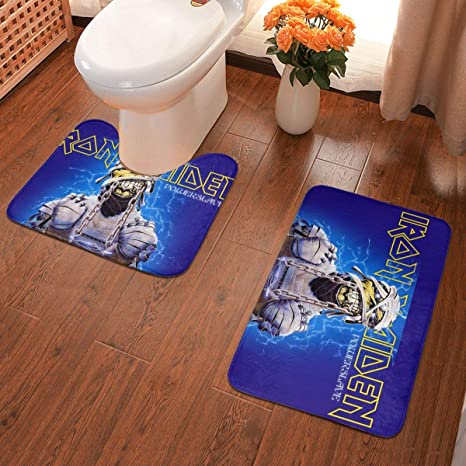 Bathroom Shower 2 Piece Bath Mat Set Non Slip /& Toilet Pedestal Soft Toilet Rug