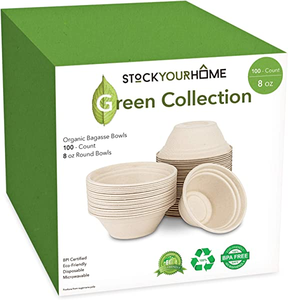 Compostable Bagasse Bowls Eco Friendly Dinnerware Biodegradable And Recyclable 100 Pack 8 Oz