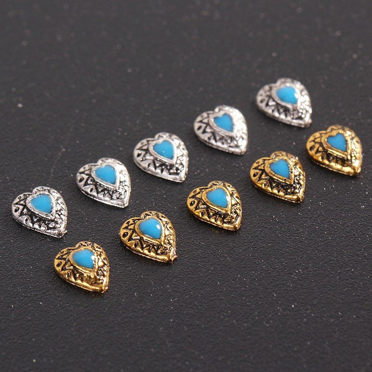 ハートネイルパーツ ネイルアート スタッズ ネイル用品 約5mm 10個入り大人の女性らしい天然石風 ゴールド/シルバーの2色