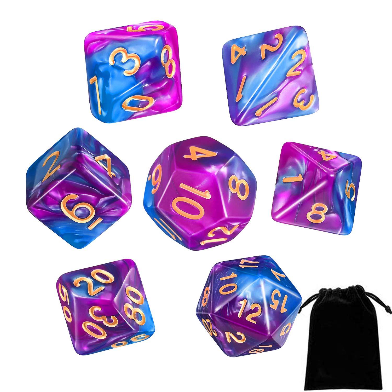 Dados Poliédricos,7 Piezas Juegos de Mesa Dados para Colores Juegos de rol para Aazmorras y Dragones MTG RPG DND con Bolsa Negra: Amazon.es: Hogar