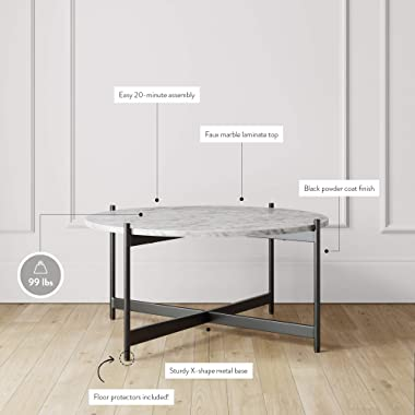 Nathan James Piper Faux White Marble Round Modern Living Accent Side or Coffee, Sofa Center Table for Dining Room/Tea with Me