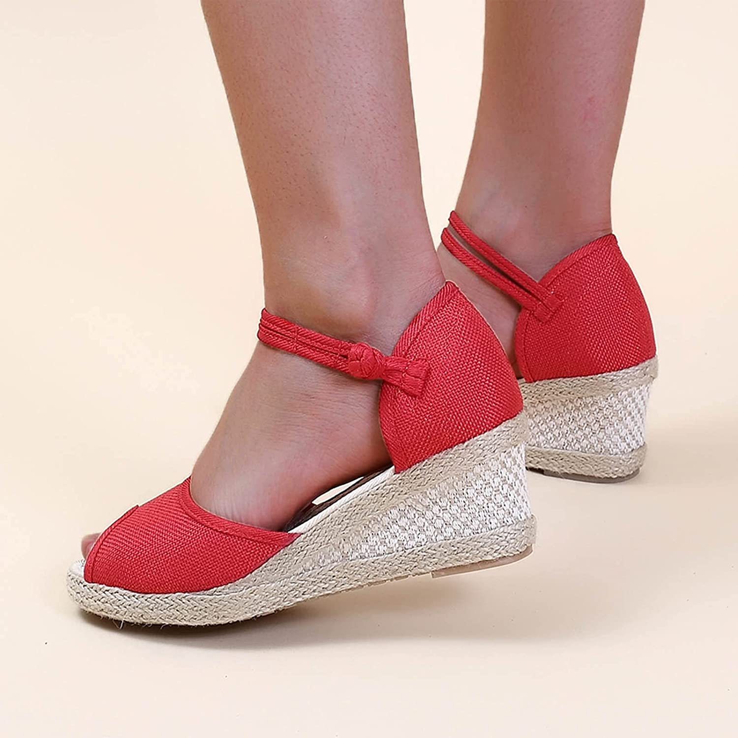 ZiSUGP Women's Casual Shoes Breathable Slip-on Outdoor Leisure Wedges Sandals