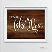 Andaz Press Wedding Party Signs, Rustic Wood Print, 8.5-inch x 11-inch, Please Take One, 1-Pack, Unframed