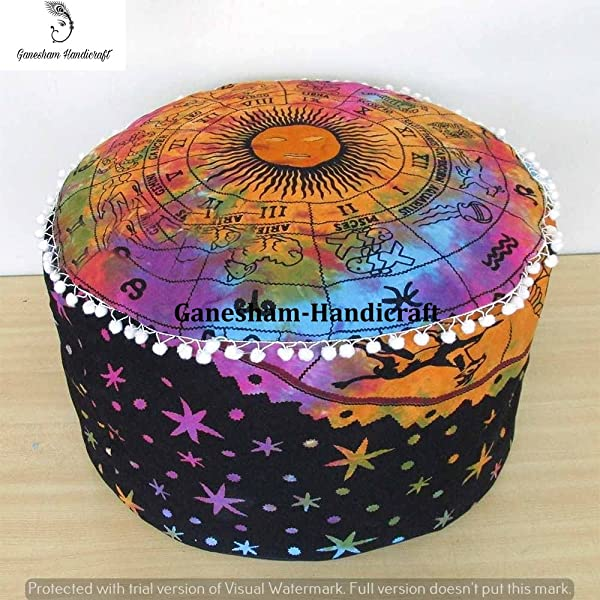 Indian Mandala Tie Die Psychedical Celestial Horoscope Hippie Bohemian Tapestry Pouf Ottoman Handmade Pouf Cover Home Decor Chair Cover Bohemian Decor Seating Pouf Mandala Cushion Cover Only