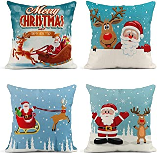 ArtSocket Set of 4 Throw Pillow Covers Merry Christmas Santa Claus Cartoon Funny and Red Nosed Reindeer Decor Linen Pillow Cases Home Decorative Square 18x18 Inches Pillowcases