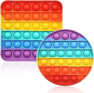 CENSUNG Rainbow Pop Bubble Fidget Jouet sensoriel multicolore en silicone Jouet anti-anxiété et anti-stress Matériel d'app...