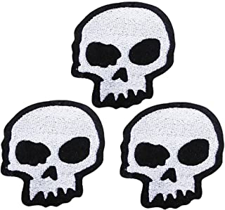 U-Sky Cool Iron on Skeleton Patches for Jackets, 3pcs Embroidered Sew-on/Iron on Skull Head Motorcycle Patch for Biker Clothes/Jeans/Vest/Sweater to Cover Rip/Logo, Size: 2.9x2.9inch