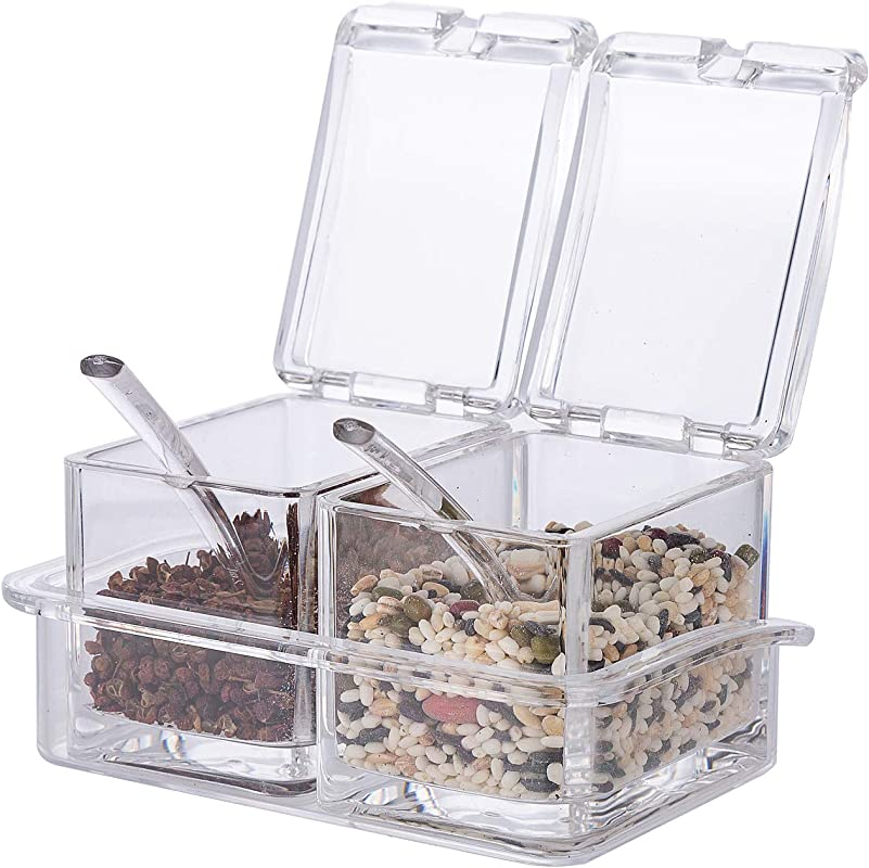 Xena 2 Piece Clear Spice Rack Spice Pot Acrylic Seasoning Box Storage Container Condiment Jar 5 5 X 4 Inch Cruet Cover Spoon Salt Pepper Organizer Sauces Dressing Holder