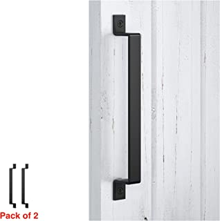FaithLand Barn Door Handle, Black 12 inch Gate Handle Set (Pack of 2), Door Pull, Pull Handle for Sliding Barn Door Gate Cabinet Closet Drawer Garage Shed- 2 Sets of Different Lengths Screws Included