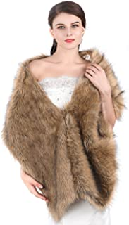 Aukmla Women's Large 1920 Brown Faux Fur Shawl Bride Wedding Fur Wraps and Shawls Faux Mink Shawl for Women and Girls (Brown)