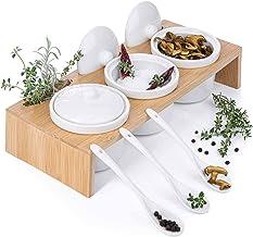 Serveerschalen set van porseleinen schalen met lepels en deksels; 3 schaaltjes in serveerdienblad & serveerplankje als kru...