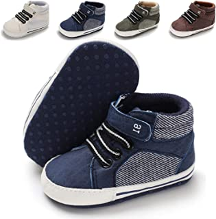 Baby Girls Boys Canvas Shoes Toddler Infant First Walker Soft Sole High-Top Ankle Sneakers Newborn Crib Shoes