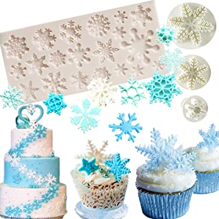 Set of 4 JeVenis Snowflake Fondant Mold 3D Christmas Cake Decorations Winter Cupcake Topper for Chocolate Candy Soap Cake Baking Decoration (White1)