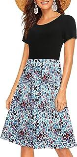 Enmain Freizeitkleider Sommer Kleid Damen mit Taschen Swing Atmungsaktiv Bequeme Kurzarm Knielange Hawaii Party Kleider Br...
