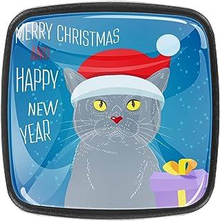 Chat de Noël magique 4 PCS Tiroir de Porte Poignée, Bouton de Meubles, Boutons de Tiroir, Boutons de Porte, Poignées de Me...