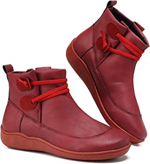 SOVIKER 2019 New Arch Support Boots Women's Side Zipper Ankle Booties Comfy Leather Flat Heel Boots