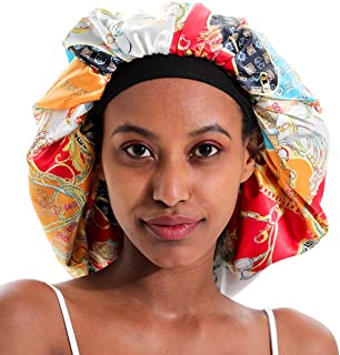 Extra Large Silk Bonnet for Women Double-Layer Satin Sleep Cap for Curly Natural Frizzy Hair