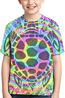 Tropical Autism Tie Dye Turtle Youth T-Shirt Funny Kids Short Sleeve Tees Fashion Tops for Boys Girls