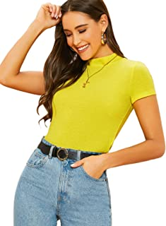 SheIn Women's Mock Neck Short Sleeve Slim Fit Knit T-Shirts