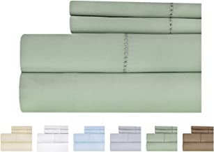 Weavely Hemstitch Bedsheet 500 Thread Count 100% Cotton Sheet Set, 4-Piece Bedding Set, Elastic Deep Pocket Fitted Sheet King Green T500CTN-HEM-SAG-KG