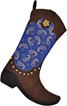 Christmas Stocking Western Cowboy Boot 18'' - Gift Kids Fireplace Decor with Embroidered Patern 1pcs