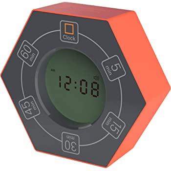 Znewtech Home & Office Timer with Clock, 5,15, 30, 45, 60 Minute Preset Countdown Timer, Easy-to-Use Time Management Tool (Orange)