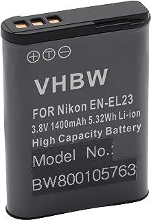 vhbw Li-Ion batería 1400mAh (3.8V) para cámara videocámara Nikon CoolPix B700 por EN-EL23