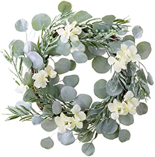 18 Inch Eucalyptus Greenery Wreath Spring Door Wreath Farmhouse Garland Plastic Wreath for Front Door Wedding Wall Hanging...