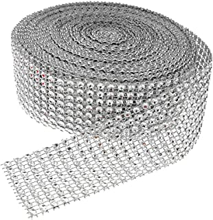 Simulative Diamond Mesh Wrapping Ribbon Roll,DIY Bling for Cake Vase Candle Decorations on Birthday Wedding(8 Row,1.5