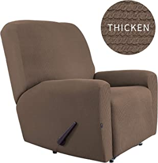 Easy-Going Thickened Recliner Stretch Slipcover, Sofa Cover, Furniture Protector with Elastic Bottom, 4 Pieces Couch Shield, Sturdy Fabric Slipcover, Pets,Kids,Children,Dog,Cat (Recliner,Camel)