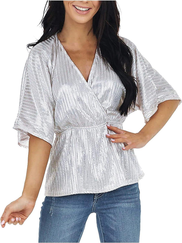 Smileyth 5 popular Women's V-Neck Portland Mall Half Sleeve Summer Tops Sequined Casual