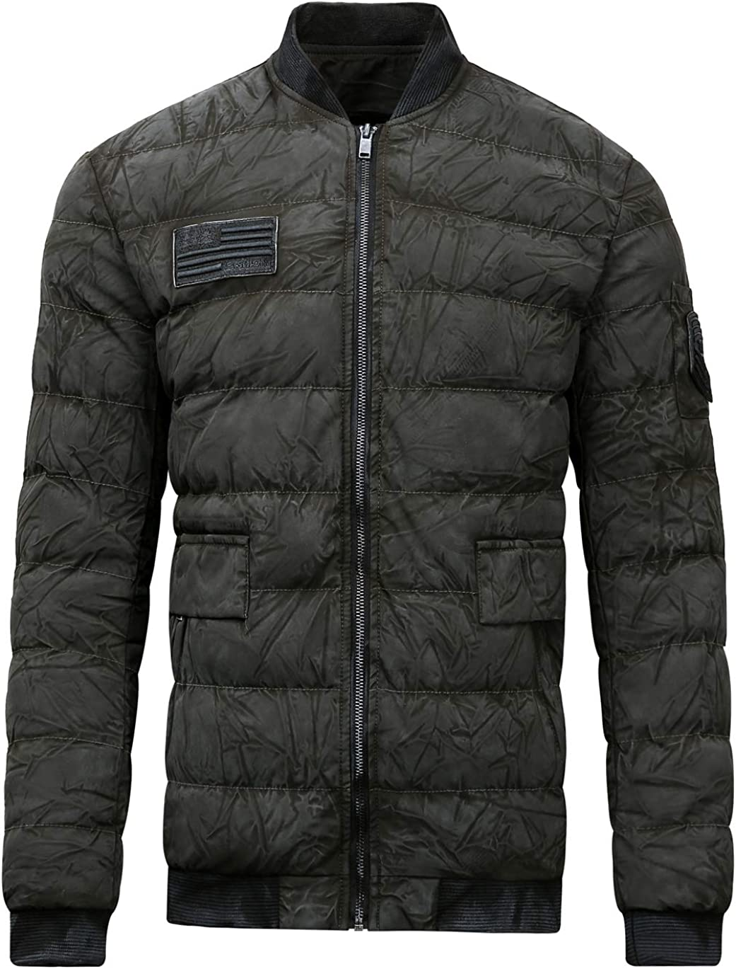 chouyatou Men's Active Full Zip Wrinkle Thicken Quilted Packable Down Alternative Bomber Jacket