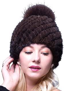 Thick Winter Genuine Knit Mink Fur Hat with Fox Fur Pom Pom Beanie Winter Warm Cap New Bonnet