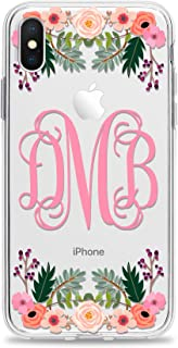 Monogram Cell Phone Case Cover Designed for Apple iPhone Xr Xs Max X 10s 10r 10 8 Plus 7 6s 6 Se 5s 5 Clear Transparent Rubber with Charming Floral Print