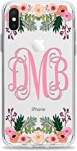 Monogram Cell Phone Case Cover Designed for Apple iPhone 11 Pro Max Xr Xs X 10s 10r 10 8 Plus 7 6s 6 Se 5s 5 Clear Transparent Rubber with Charming Floral Print