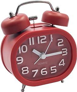 """EASEHOME Retro Reloj Despertador Analógico de Cuarzo, 3"""" Doble Campanas Despertadores Silencioso Vintage Relojes de Mesita Sin Tictac con Luz de Noche y Fuerte Alarma para Niños Adultos, Rojo"""