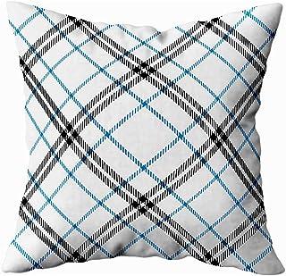 Ducan Lincoln Pillow Case 2PC 18X18,Fundas De Almohada,Patrón De Tartán De 16X16 Pulgadas En Azul Negro Textura Blanca Manteles A Cuadros Ropa Camisas Fundas De Almohadas para Sofá,Fundas De Almohada
