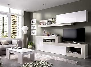 LIQUIDATODO ® - Composición de salon modular 260 cm moderna y barata en gris y blanco brillo