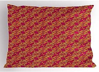 Ducan Lincoln Pillow Case 4 Piezas 18X18 Pulgadas Funda De Almohada Geométrica,Elementos con Ramas En Estampado De Flores,Decoración para El Hogar Funda De Almohada Impresa De Tamaño Estándar