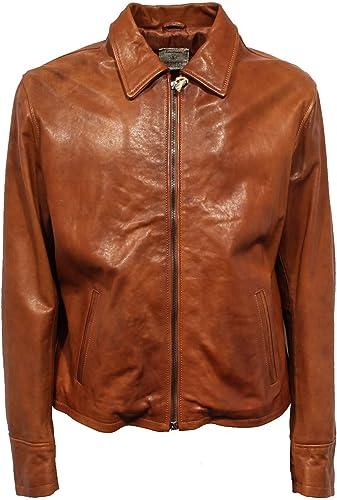 F9038 Giubbotto hommes SAUSSER'S Stone Washed cuir Vintage Effect veste Man